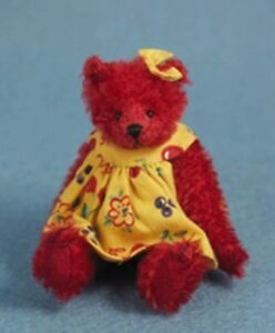 """DEB CANHAM  """"CHERRIE""""  RED MOHAIR BEAR-3 3/4"""" JOINTED-WEARING YELLOW DRESS"""