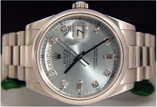 ROLEX - PLATINUM Men's Glacier Ice Blue Diamond President 118206 - SANT BLANC