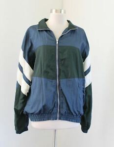 Vtg 90s Mens Color Block Windbreaker Track Jacket Size M Blue Green Retro