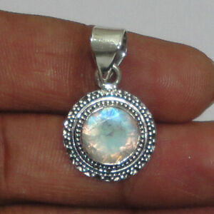 925 Sterling Silver Pendant Necklace Natural Rainbow Moonstone  Jewelry PS-1041