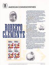 USPS Commemorative Panel 227 Roberto Clemente #2097 Baseball HOF Blk/4 Mint 1984
