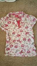LITTLE JOULES CREAM PINK HORSES polo top SOFT SHIRT SIZE 8