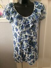 Wallis Top Size 10 Blue Floral Design With Front Ruffle