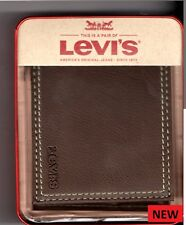 Levi's Mens Extra Capacity Slimfold Wallet, Brown, One Size GIFT BOXED L@@K ....