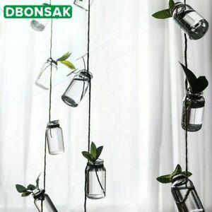 Wall Hanging Vase Handmade Hemp Rope Glass Bottle String Decorative Pendant