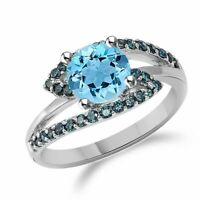 Sideway Blue Sapphire & Aquamarine Cz Promise Ring In Sterling Silver Size 4-11