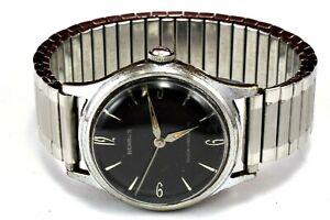 Vintage 1950 BENRUS 17Jewel Series 2155 Mechanic Black Dial Men Watch Keeps Time