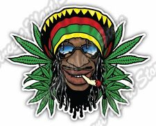 "Rastaman Rasta Hat Marijuana Weed Cannabis Car Bumper Vinyl Sticker Decal 4.6"""