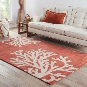 Coastal Corel Red Hand Tufted 100% Wool Soft Area Rug Carpet