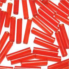 Perles de Rocailles Tubes en verre Transparent 9x2mm Rouge 20g