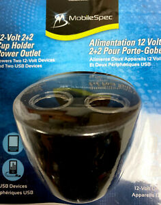 MobileSpec 12-Volt 2+2 Cup Holder Twin Power Outlet,12-volt plug /USB MSCUP22USB