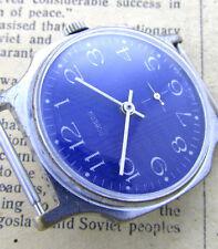 POBEDA BLUE EXPORT EDITION Vintage 1970s USSR Soviet Mechanical Men Wrist Watch