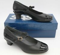 SAS ISABEL WOMEN'S BLACK PATENT LOW HEEL PUMPS MARY JANE SHOES BUCK UP NEW
