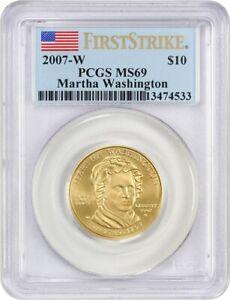 2007-W Martha Washington $10 PCGS MS69 (First Strike) First Spouse .999 Gold