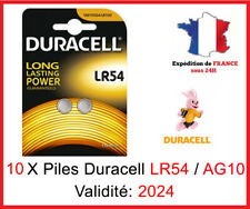 10 Piles LR-54 / AG10  DURACELL Bouton Alcaline 1,5V DLC 2024