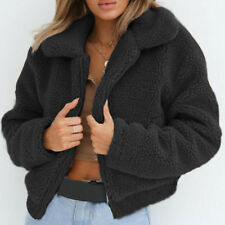 Women Teddy Bear Fluffy Coat  Winter Warm Fleece Fur Jacket Zip Up Outerwear Top