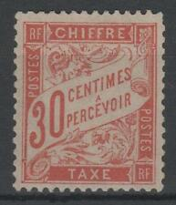 "FRANCE STAMP TIMBRE TAXE 34 "" 30c ROUGE-ORANGE "" NEUF xx TTB SIGNE , RARE  K816"