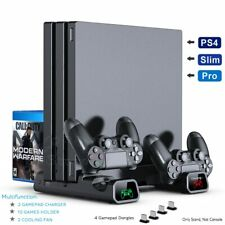 For PS4 Pro/Slim Console Vertical Stand + Controller Charging Dock + Cooling Fan