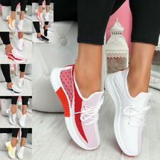 Women's Casual Lace Up Trainers Sports Sneakers Mesh Knit Comfy Running Shoes