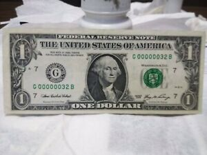 2006 $1 dollar bill low serial number G 00000032 B Only 2 Digits