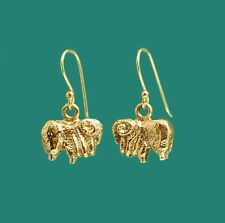 Quirky Australian Merino Sheep Ram Gold Earrings on Hooks - for Farmer Shearer
