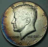1968-D KENNEDY HALF DOLLAR SILVER COLOR TONED UNC BU GEM FLAWLESS (DR)