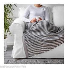 "Ikea Ormhassel Knit Throw Blanket 47"" x 71"" Gray Black White ~ NEW!"