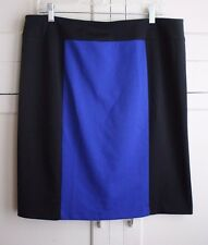 Fashion Bug Color Block Black & Blue Wiggle Pencil Career Stretch Skirt Size  XL