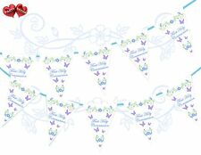 First Holy Communion Purple Butterflies Flowers Themed Bunting Banner 15 flags 1