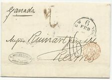 US Stampless Trans-Atlantic Ship Cover F/L Canada to NY to Reims, France 1864