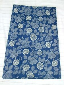 Ralph Lauren Americana Queen Flat Sheet Blue Beige Floral Flower Ocean Wash FLAW