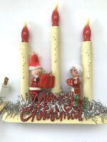 Vintage Christmas Santa  Mrs Claus Candelabra Assemblage Light Up