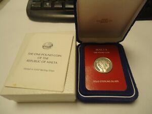 MALTA 1979 - 1 Pound in Silber, PP - FLAMME