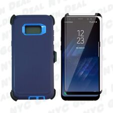 Navy For Samsung S8 Defender Case w/ Tempered Glass Screen Protector