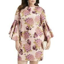 NWT Betsey Johnson Pink Floral Bell Sleeve Boat Neck Cocktail Dress Size 22W