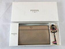 BNIB Fossil Brenna Clutch Gift Box Set. Purse and Key Ring. Gold Metallic.