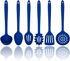 Blue Silicone Cooking Utensils Set – Sturdy Steel Inner Core – Spatula, Mixing &