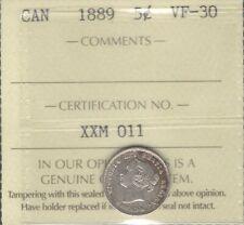 1889 Five Cents Silver ICCS VF-30 * Beautiful SCARCE Date HIGH Grade Victoria 5¢
