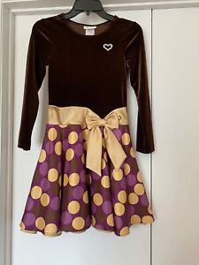 Bonnie Jean Size 10 Girls Party/Occasion Dress  Polka Dot Skirt/Gold Colored Bow