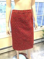 "EMANUEL UNGARO ""PARALLELE"" Size 4/6 Small Red/Orange 100% Wool TWEED SKIRT Italy"