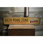 Beer Pong Zone Novelty Distressed Sign, Personalized Wood Sign