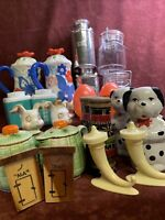Vintage Salt and Pepper Shakers Lot Ceramic Plastic Wood Metal/Aluminum?