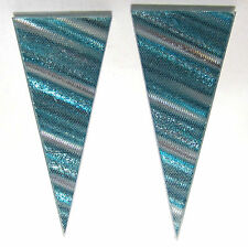 DZ New York, NY Ohrstecker original Hologramm USA spitz stripes türkis 1980`s