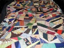 ANTIQUE HANDMADE CRAZY QUILT ~ MADE BY A 77 YEAR OLD WOMAN *SIGNED & DATED 1937
