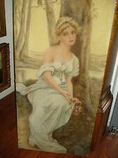 "Oil Painting Signed Mary Holy, 1915, Art Nouveau Period ""Female/Outdoor Setting"""