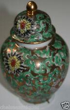 1970 S VINTAGE ginger jar/POT XIANG Gang Jia Gong Hong Kong PORCELLANA VERDE/ORO
