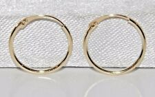 9CT GOLD 10mm HINGED SLEEPER HOOP EARRINGS (PAIR)