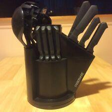 20 Piece Cutlery Chef Steak Knives Knife Tool Set Black Turnng Carousel Spoons