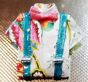ARTISAN MADE PRE-LOVED BROOCH - FUN & COLOURFUL SHIRT IN DECOUPAGE STYLE