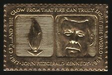 More details for john f kennedy & eternal flame u.s.a. 5 cent gold plated stamp | pennies2pounds